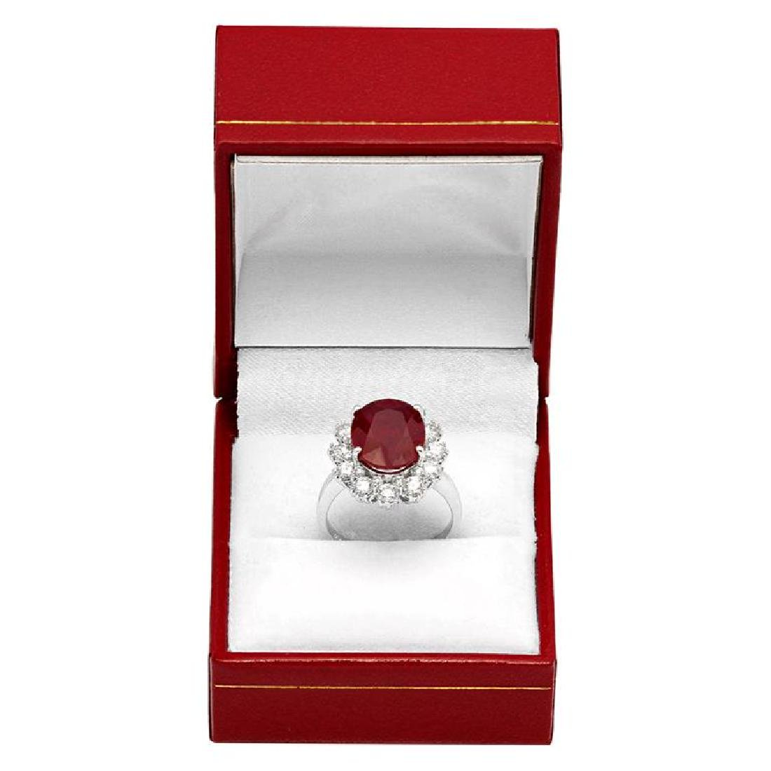 14k White Gold 6.15ct Ruby 1.44ct Diamond Ring - 4