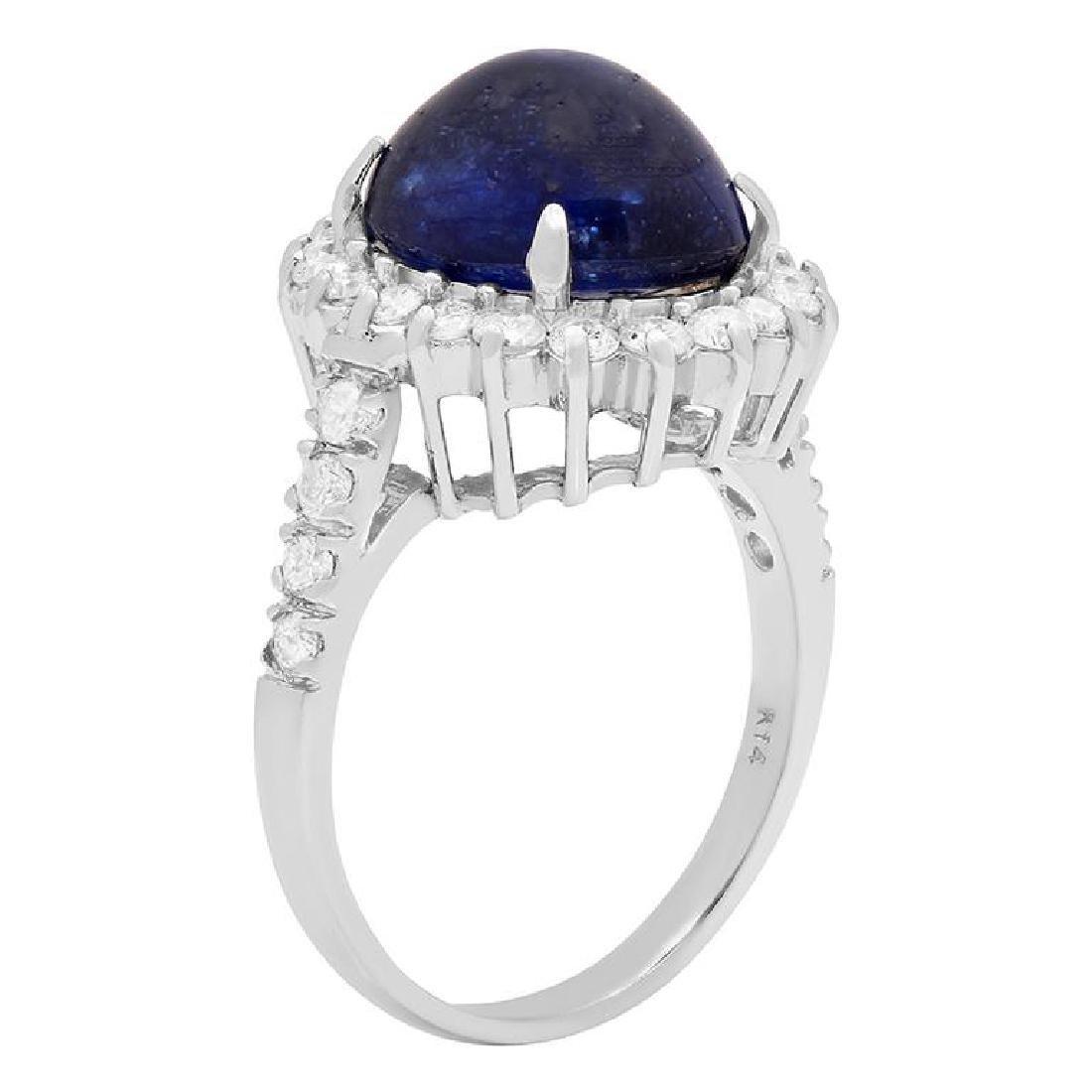 14k White Gold 11.50ct Sapphire 1.22ct Diamond Ring - 2