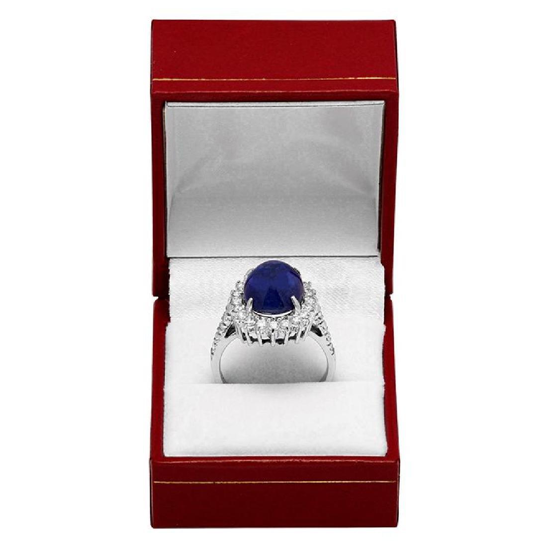 14k White Gold 11.50ct Sapphire 1.22ct Diamond Ring - 4