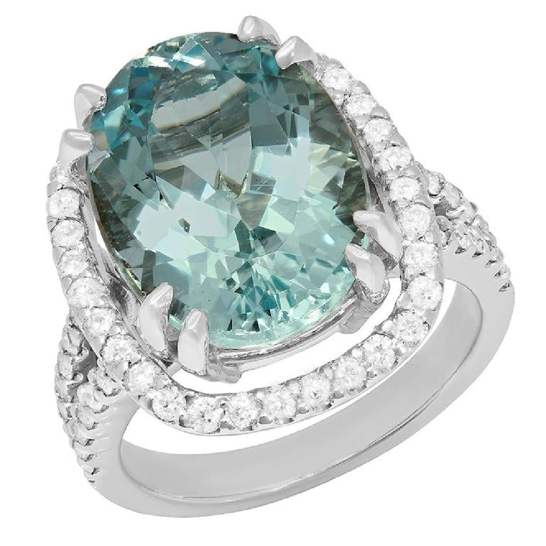 14k White Gold 9.75ct Aquamarine 1.02ct Diamond Ring