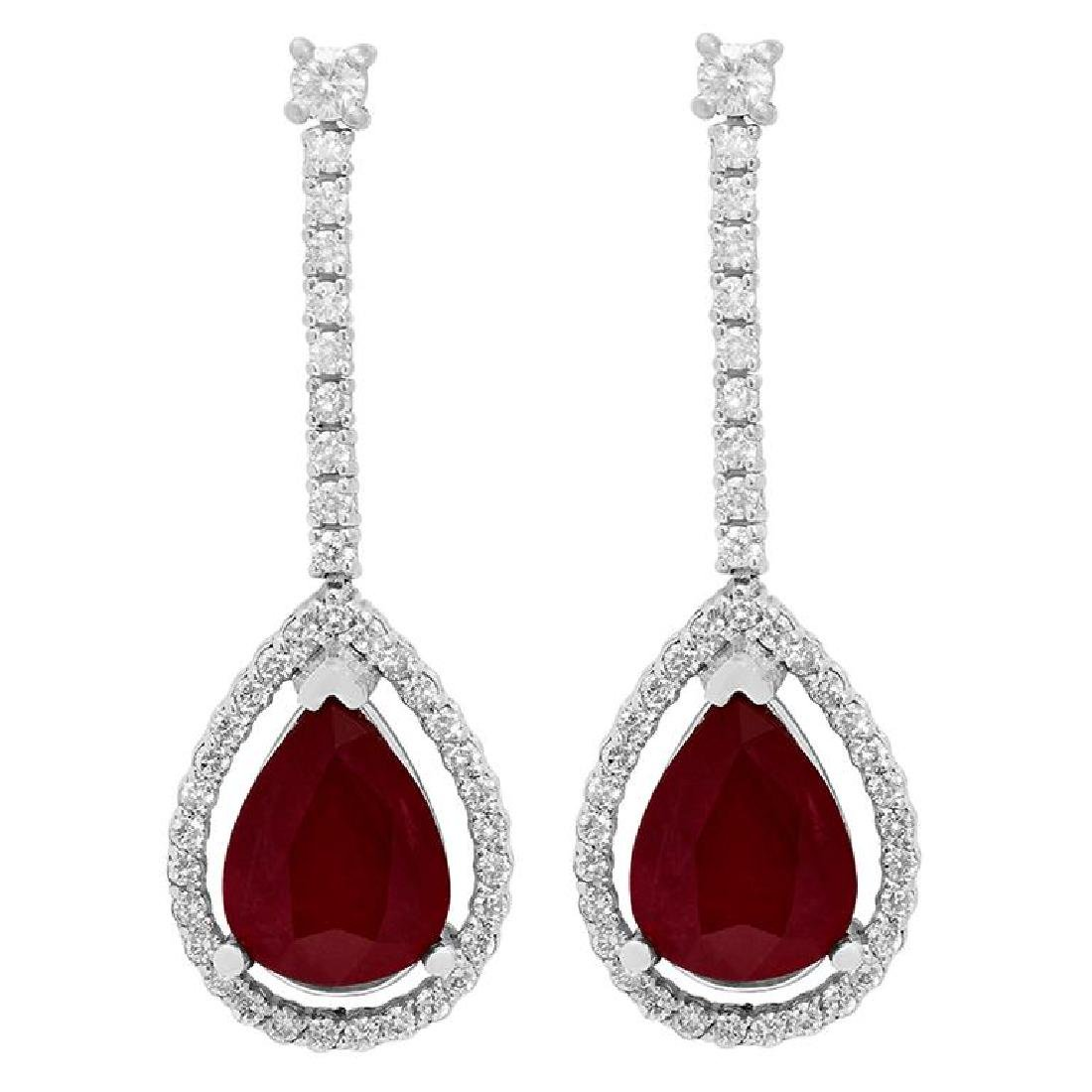 14k White Gold 6.41ct Ruby 0.89ct Diamond Earrings