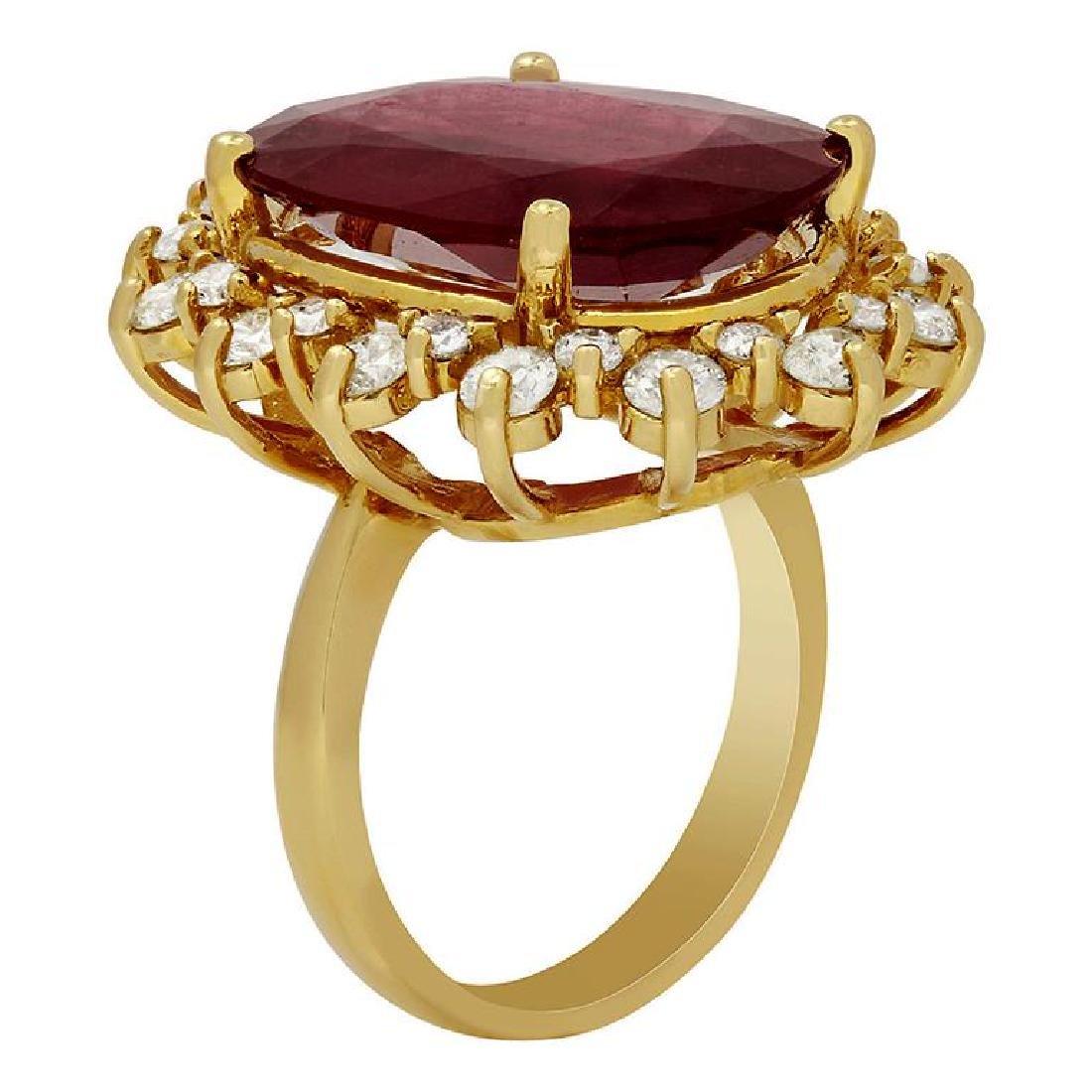 14k Yellow Gold 14.90ct Ruby 2.13ct Diamond Ring - 2