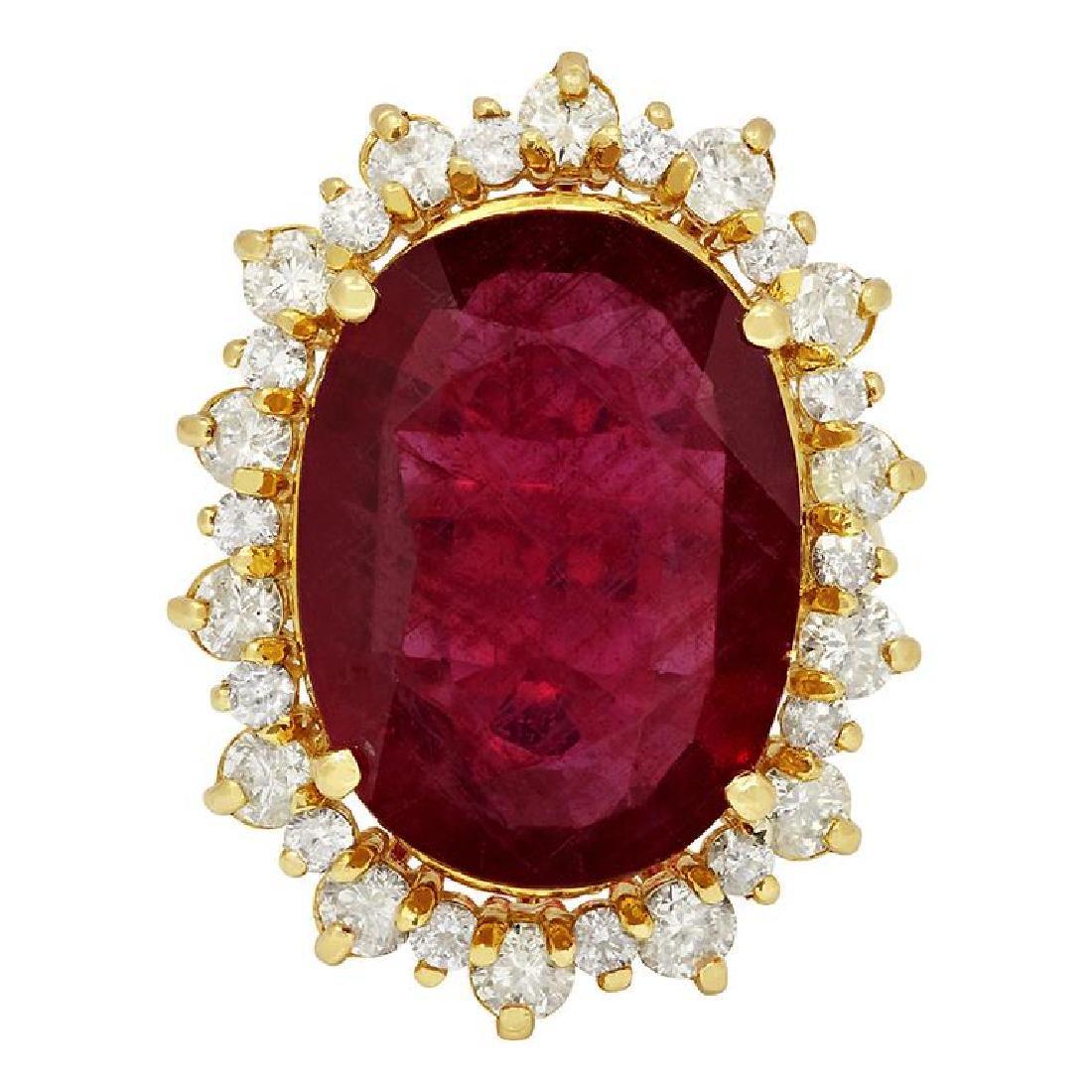 14k Yellow Gold 14.90ct Ruby 2.13ct Diamond Ring - 3