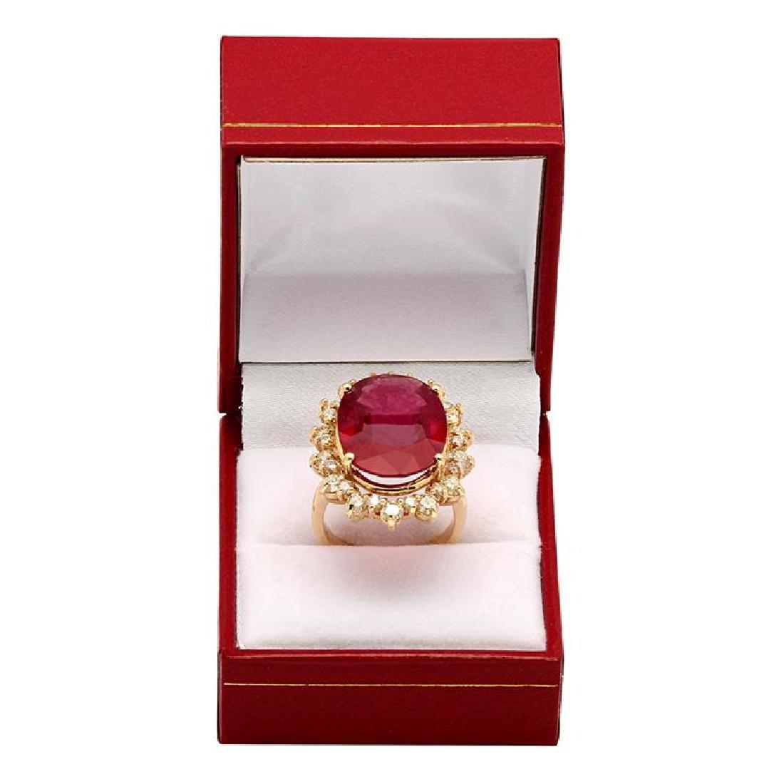 14k Yellow Gold 14.90ct Ruby 2.13ct Diamond Ring - 4