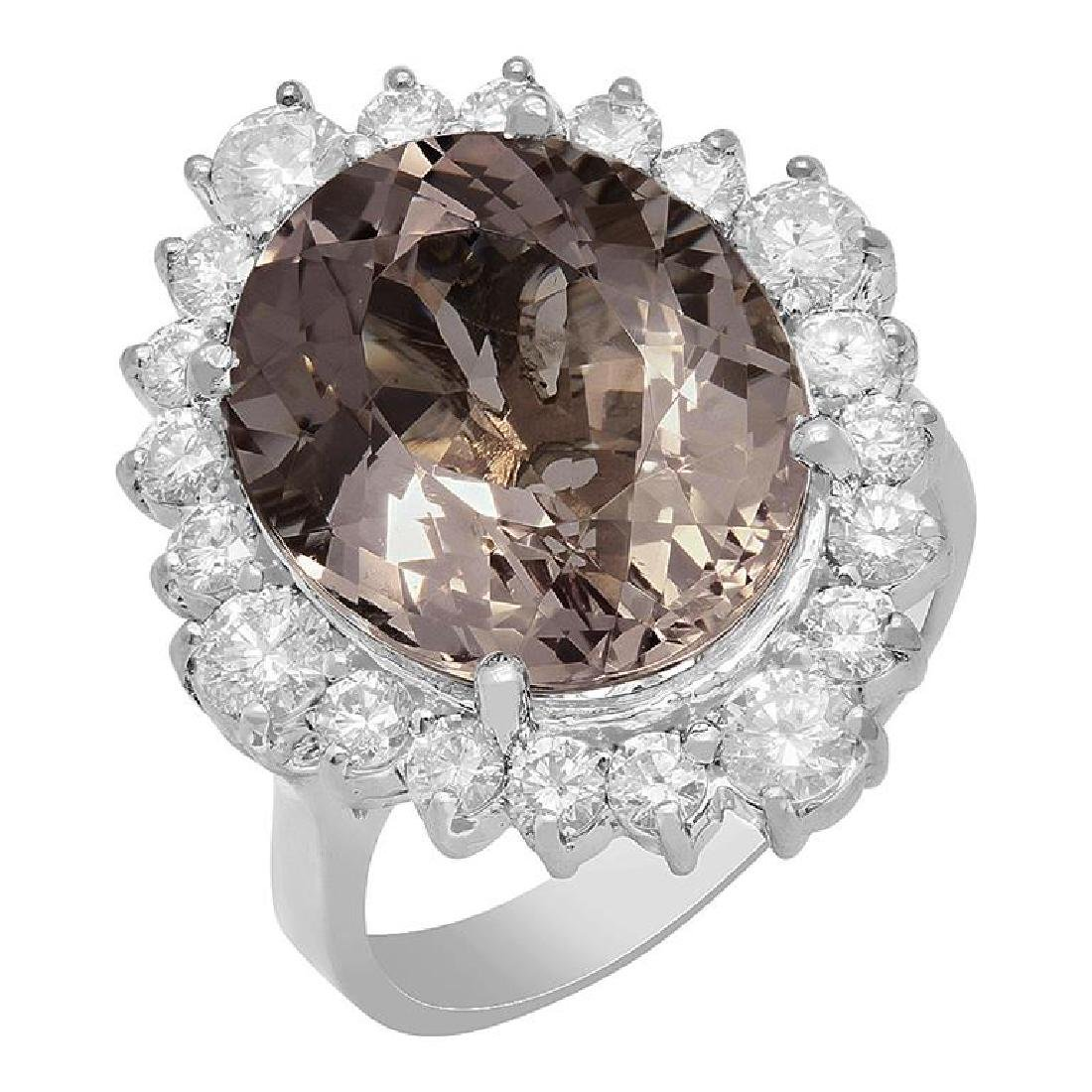 14k White Gold 9.20ct Kunzite 1.38ct Diamond Ring