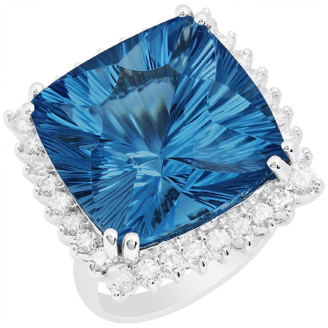 14k White Gold 27.94ct Blue Topaz 1.26ct Diamond Ring