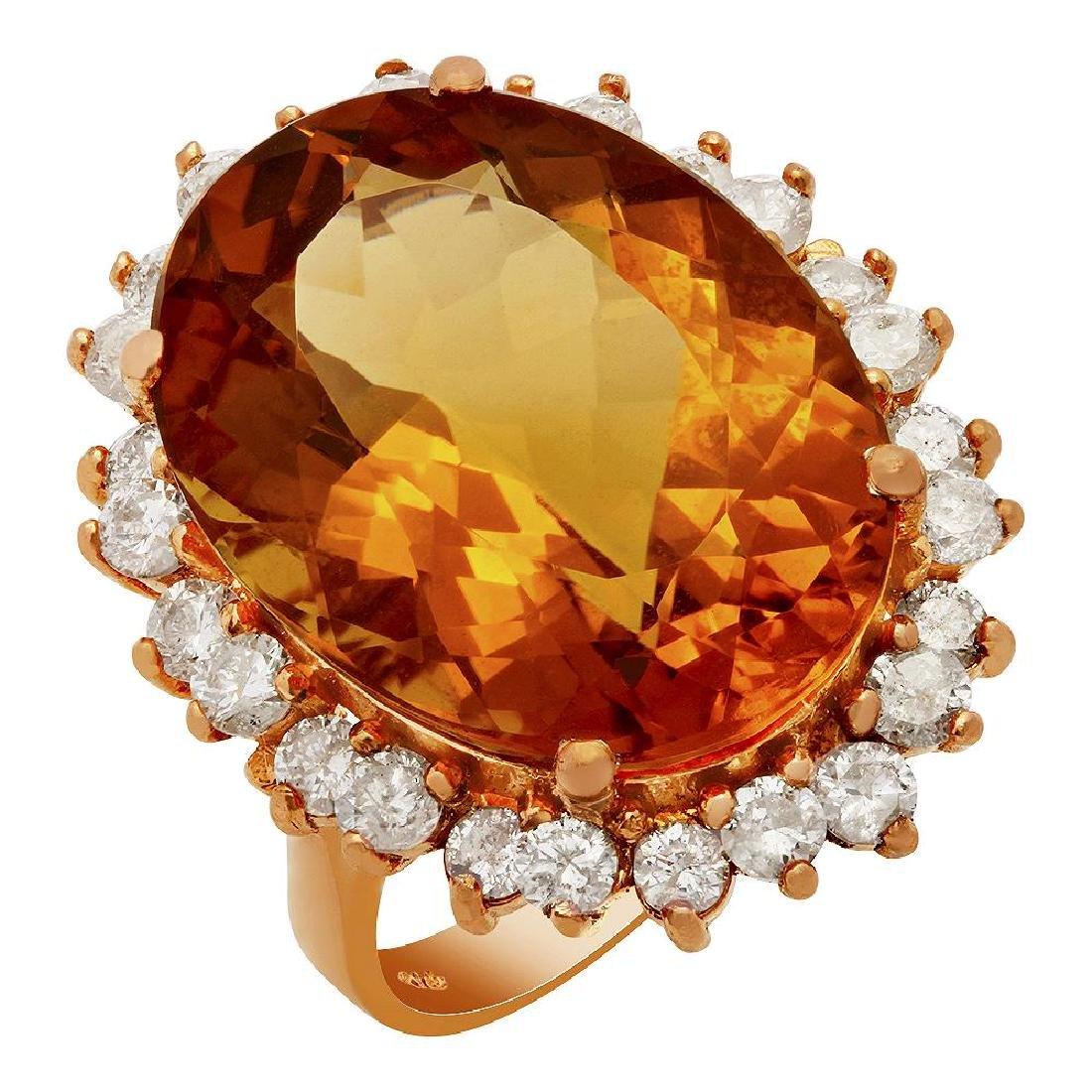 14k Rose Gold 16.15ct Citrine 1.26ct Diamond Ring