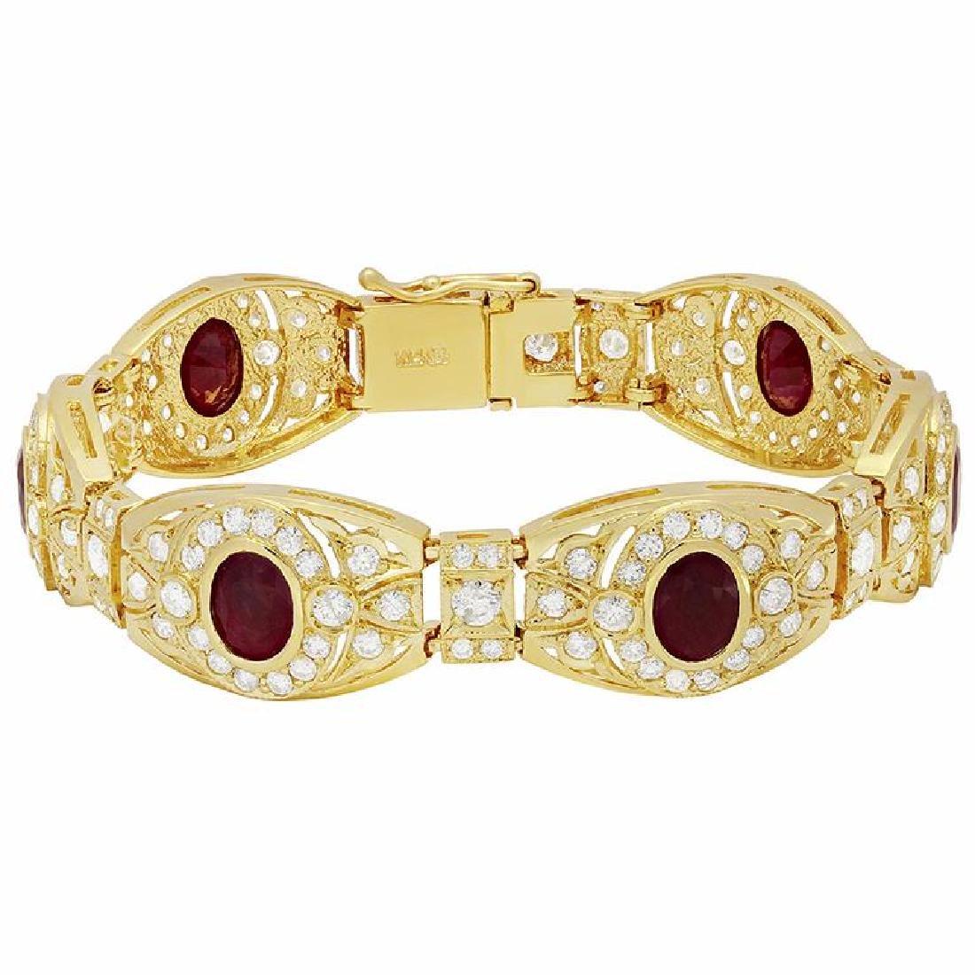 14k Yellow Gold 10.07ct Ruby 7.44ct Diamond Bracelet