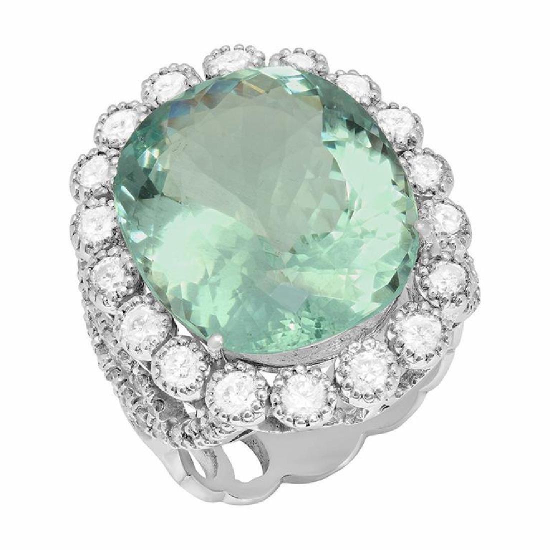 14k White Gold 15.96ct Aquamarine 1.85ct Diamond Ring