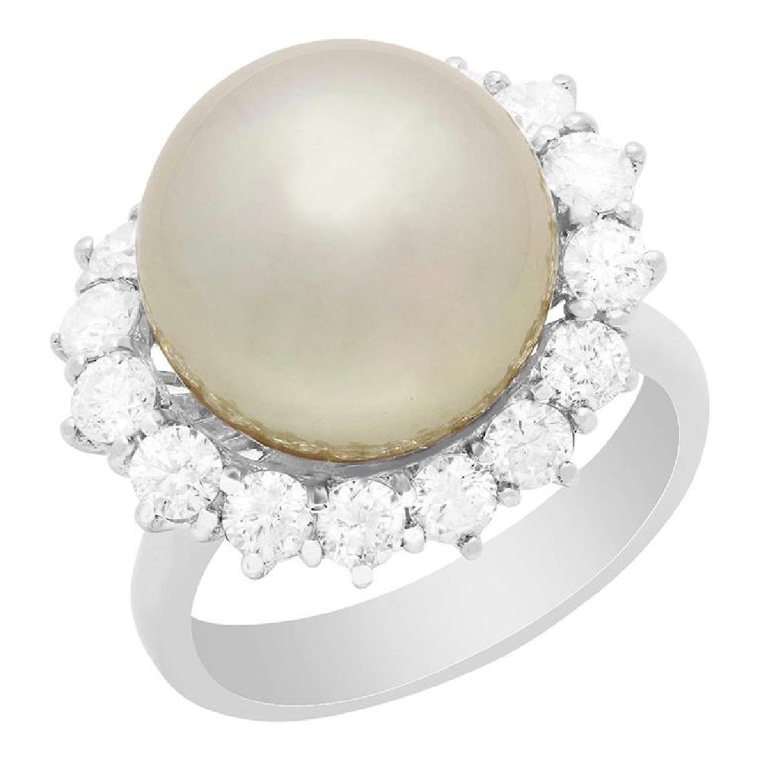 14k White Gold 13mm Pearl 1.43ct Diamond Ring
