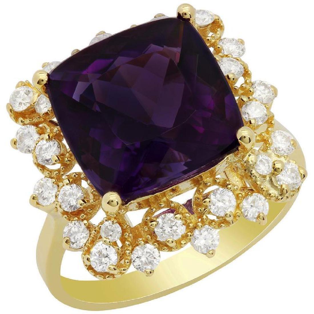 14k Yellow Gold 5.26ct Amethyst 0.71ct Diamond Ring