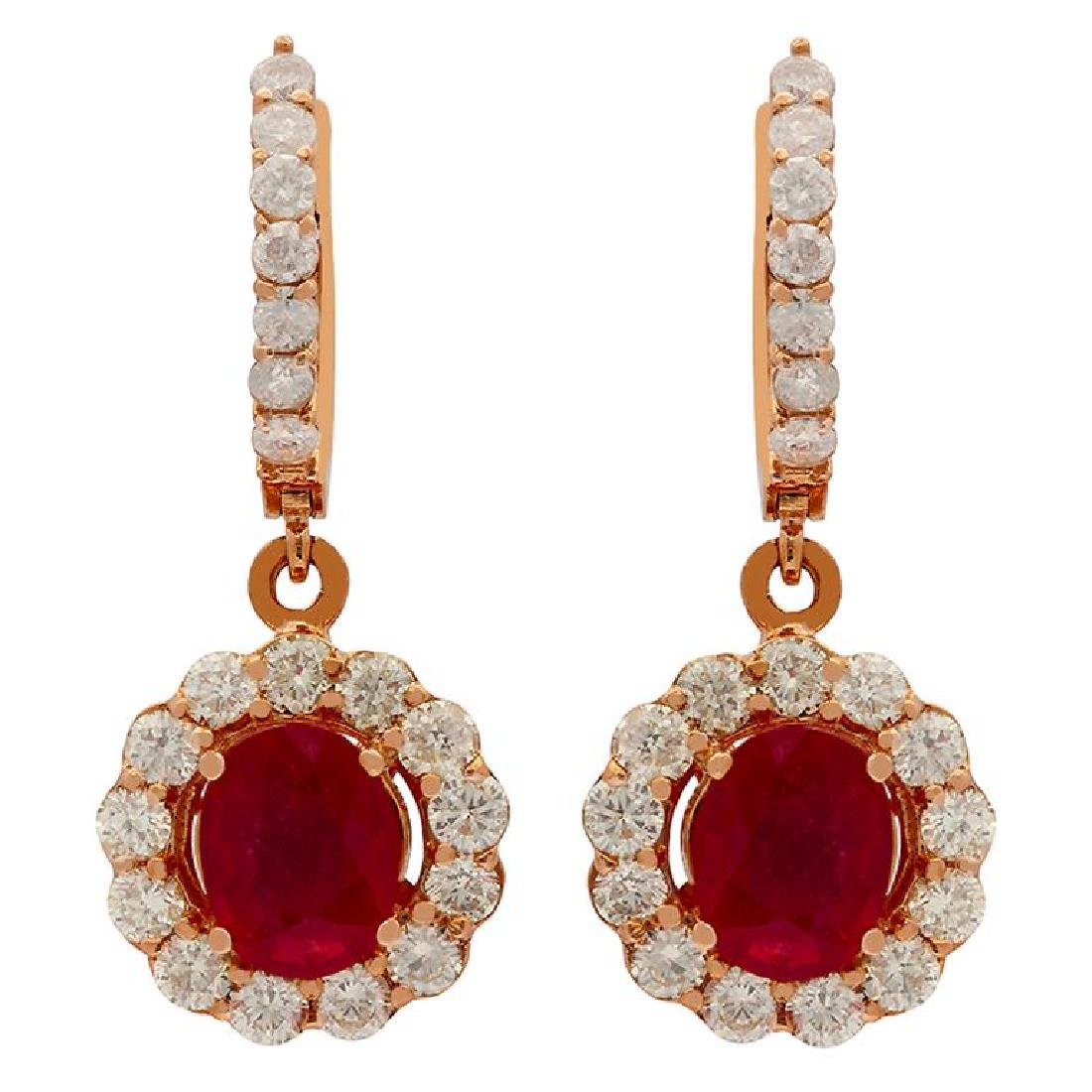 14k Rose Gold 2.79ct Ruby 2.05ct Diamond Earrings