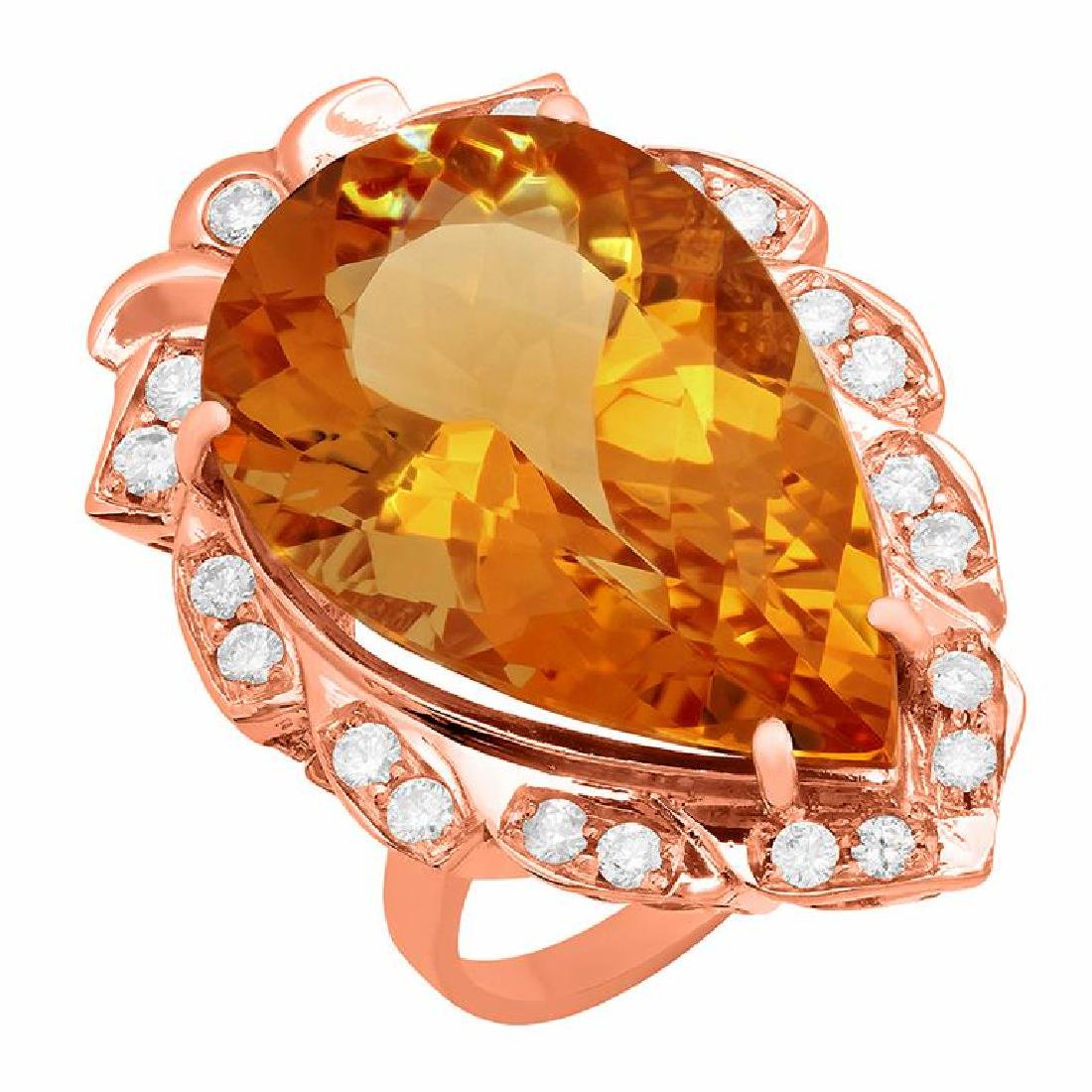 14k Rose Gold 18.72ct Citrine 0.68ct Diamond Ring