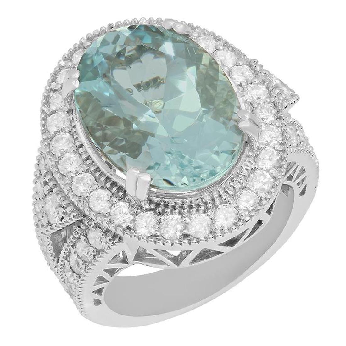14k White Gold 9.46ct Aquamarine 1.91ct Diamond Ring