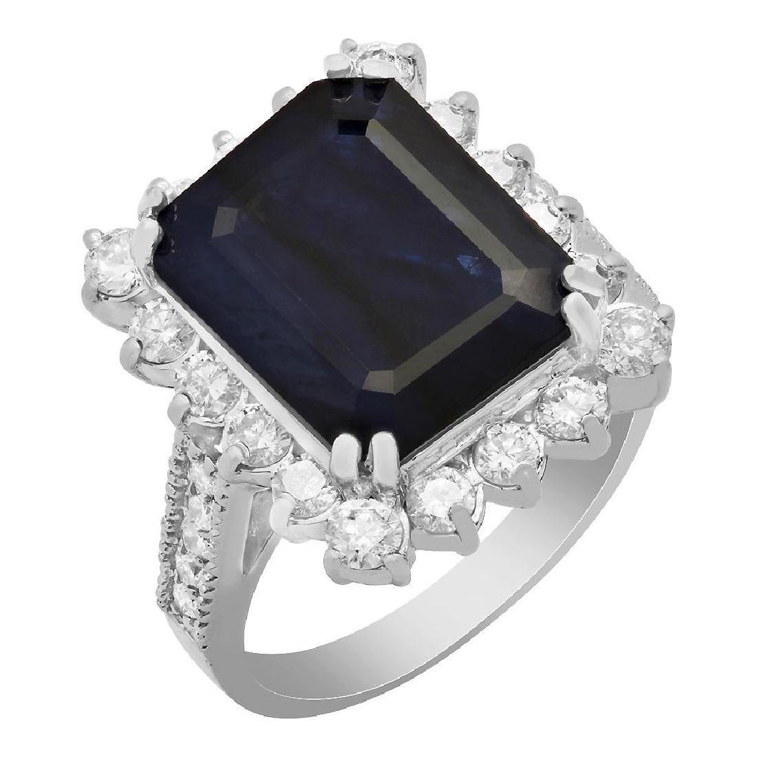 14k White Gold 7.18ct Sapphire 1.27ct Diamond Ring