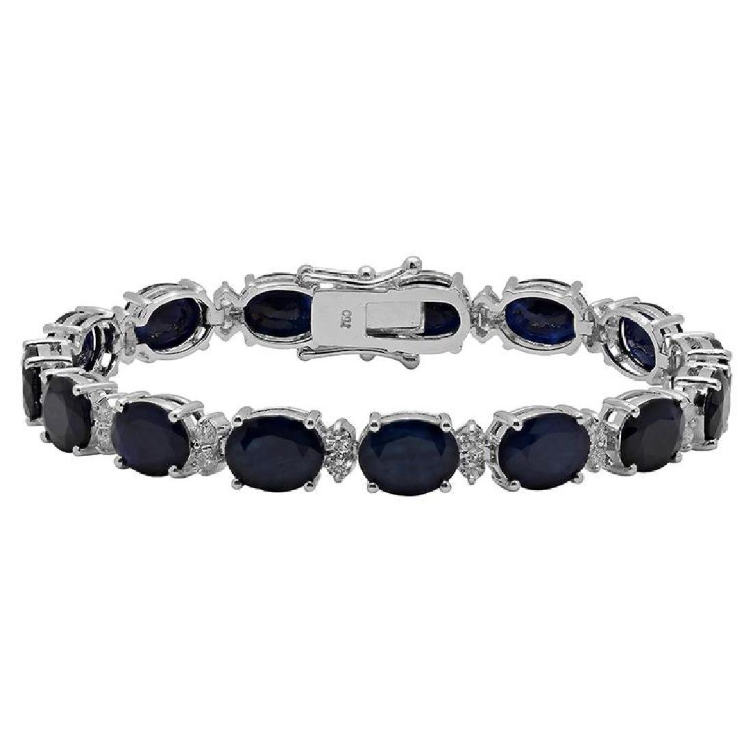 14k White Gold 28.16ct Sapphire 1.38ct Diamond Bracelet