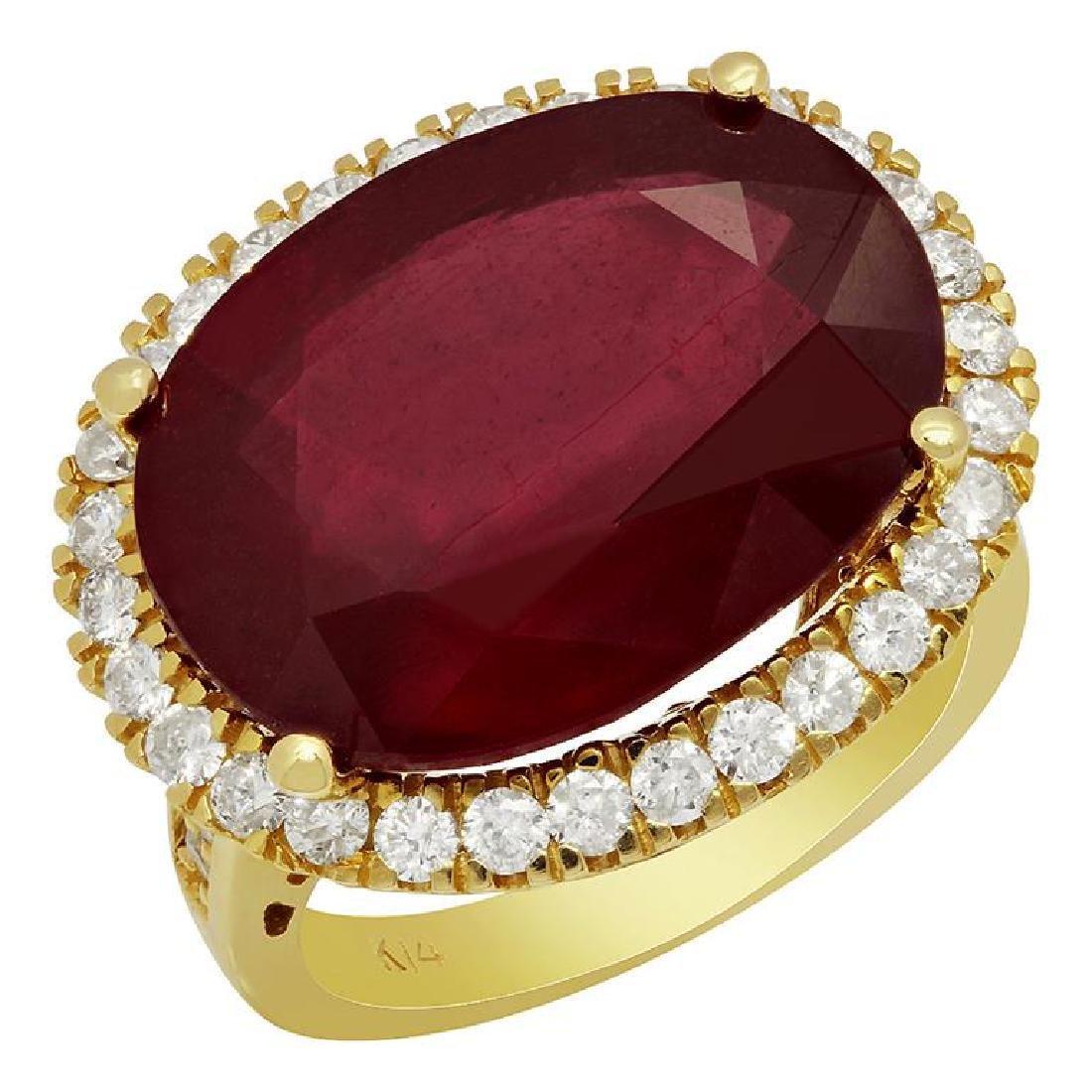 14k Yellow Gold 18.24ct Ruby 1.11ct Diamond Ring