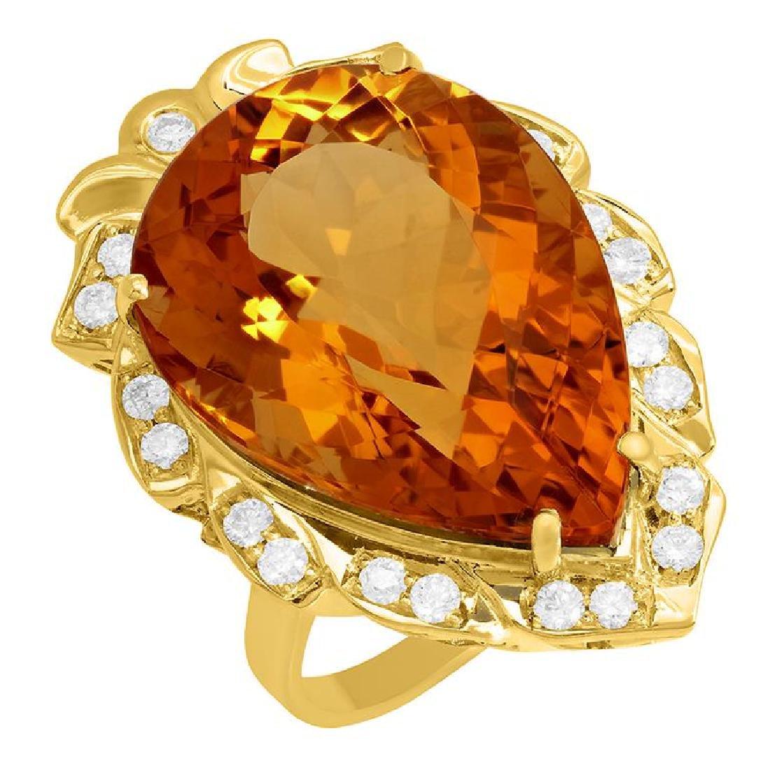 14k Yellow Gold 23.62ct Citrine 0.68ct Diamond Ring