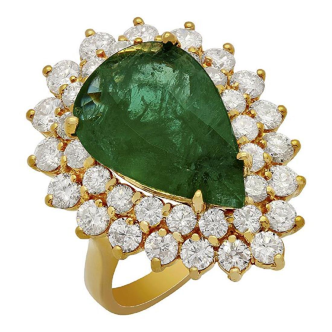 14k Yellow Gold 5.30ct Emerald 2.71ct Diamond Ring