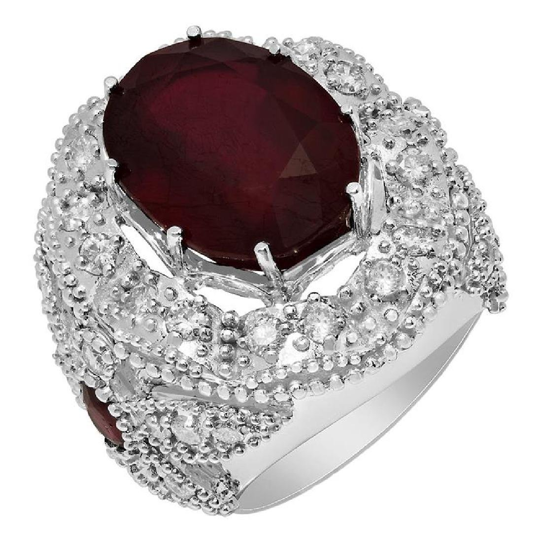 14k White Gold 18.20ct & 0.80ct Ruby 2.09ct Diamond