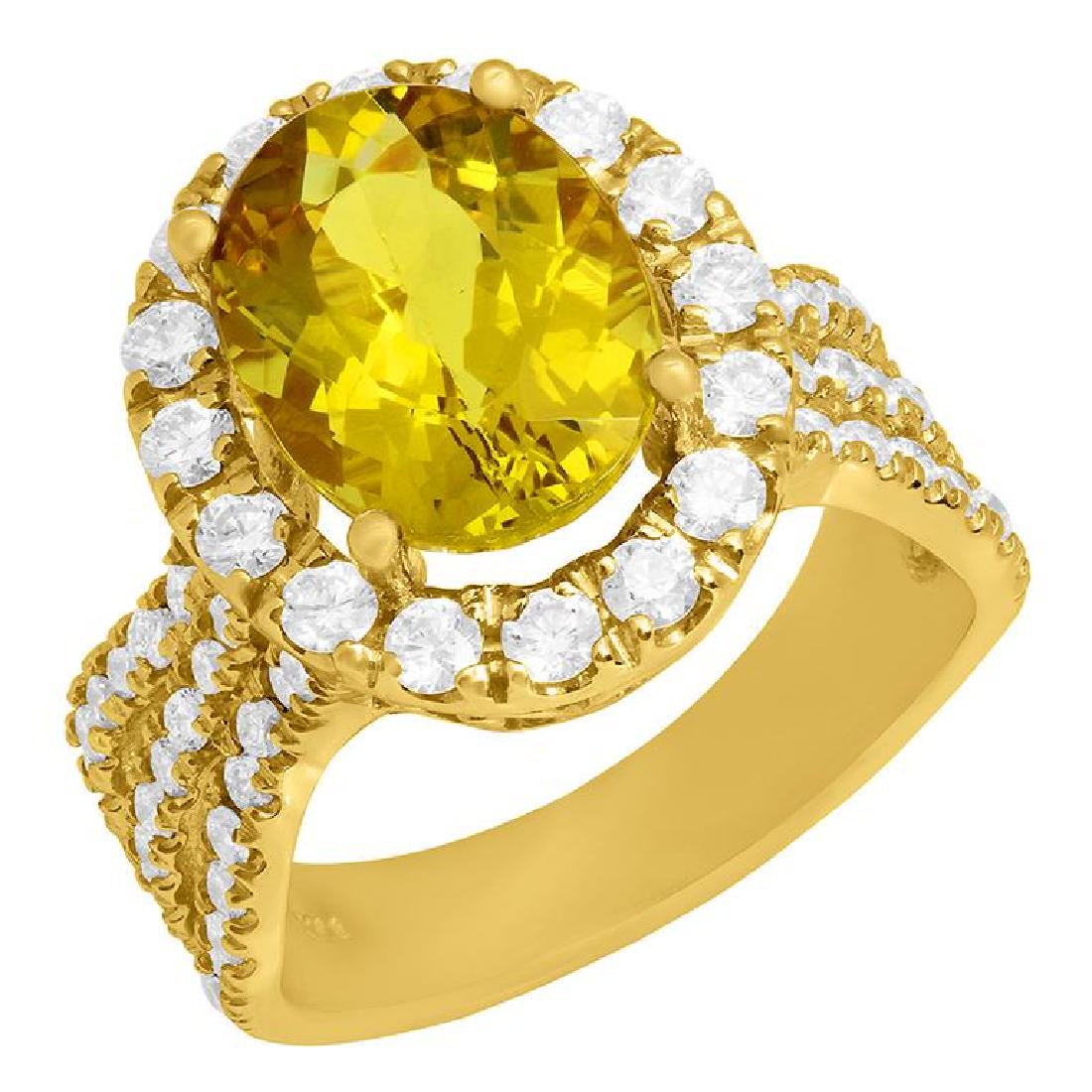 14k Yellow Gold 3.70 Yellow Beryl 1.57ct Diamond Ring