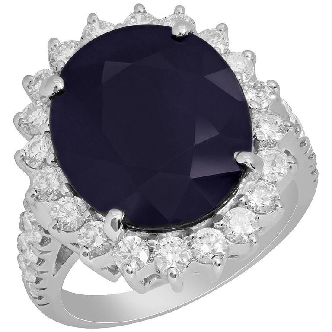 14k White Gold 9.59ct Sapphire 1.42ct Diamond Ring