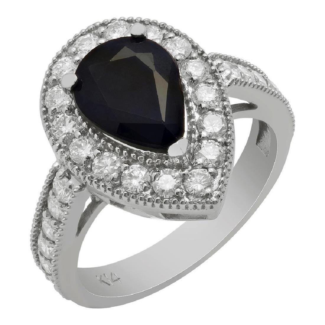14k White Gold 2.09ct Sapphire 1.07ct Diamond Ring