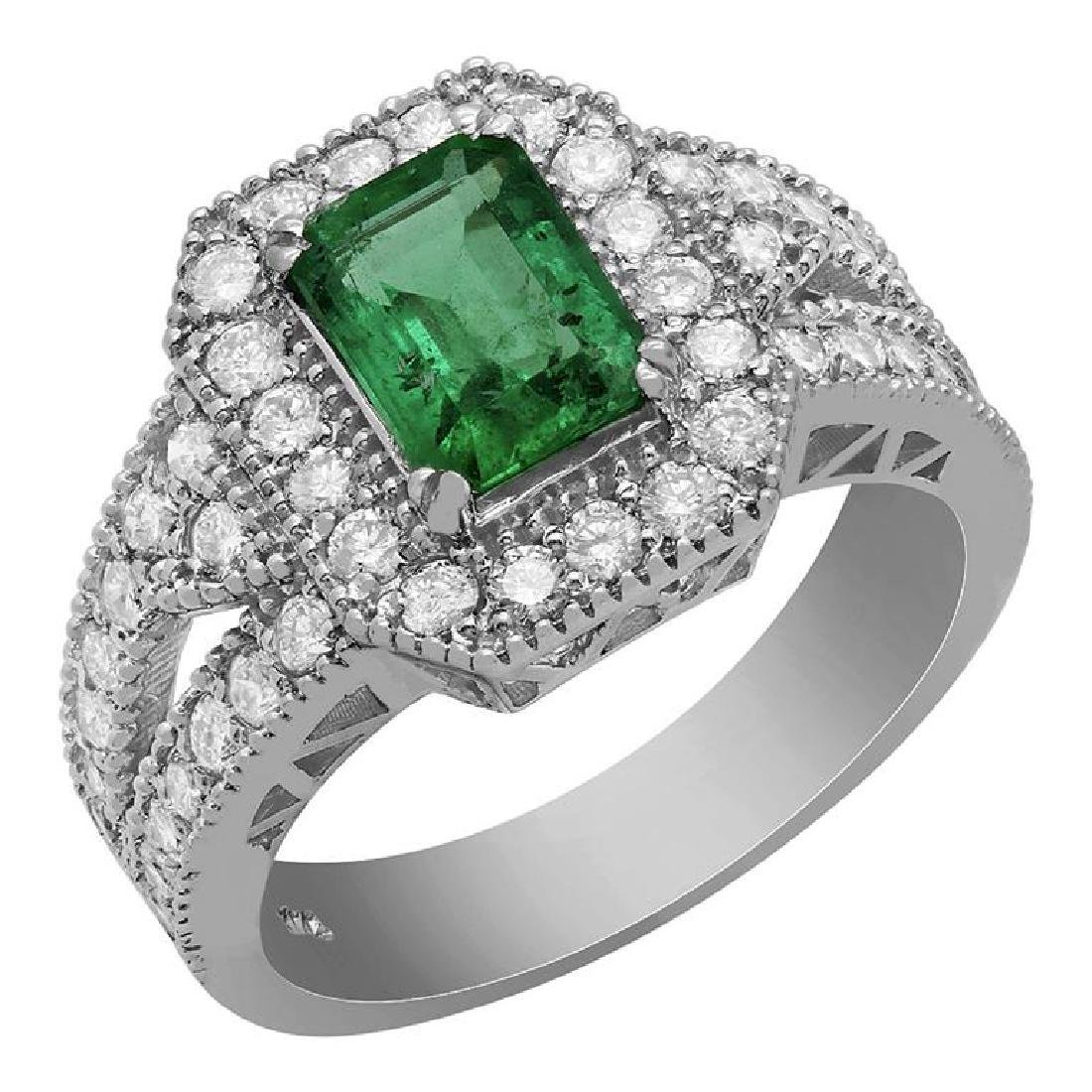14k White Gold 1.20ct Emerald 1.18ct Diamond Ring