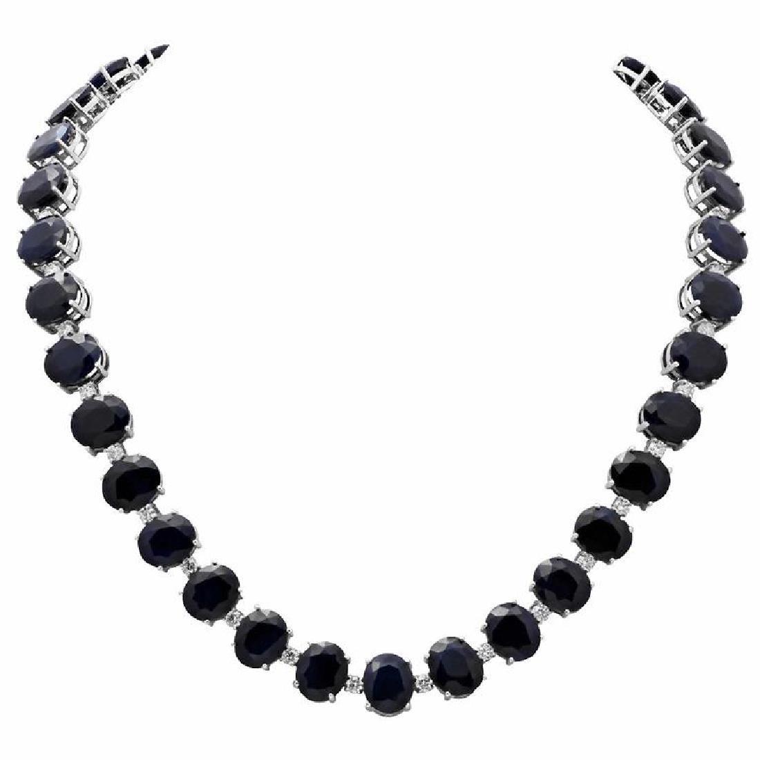 14k White Gold 145.51ct Sapphire 4.31ct Diamond