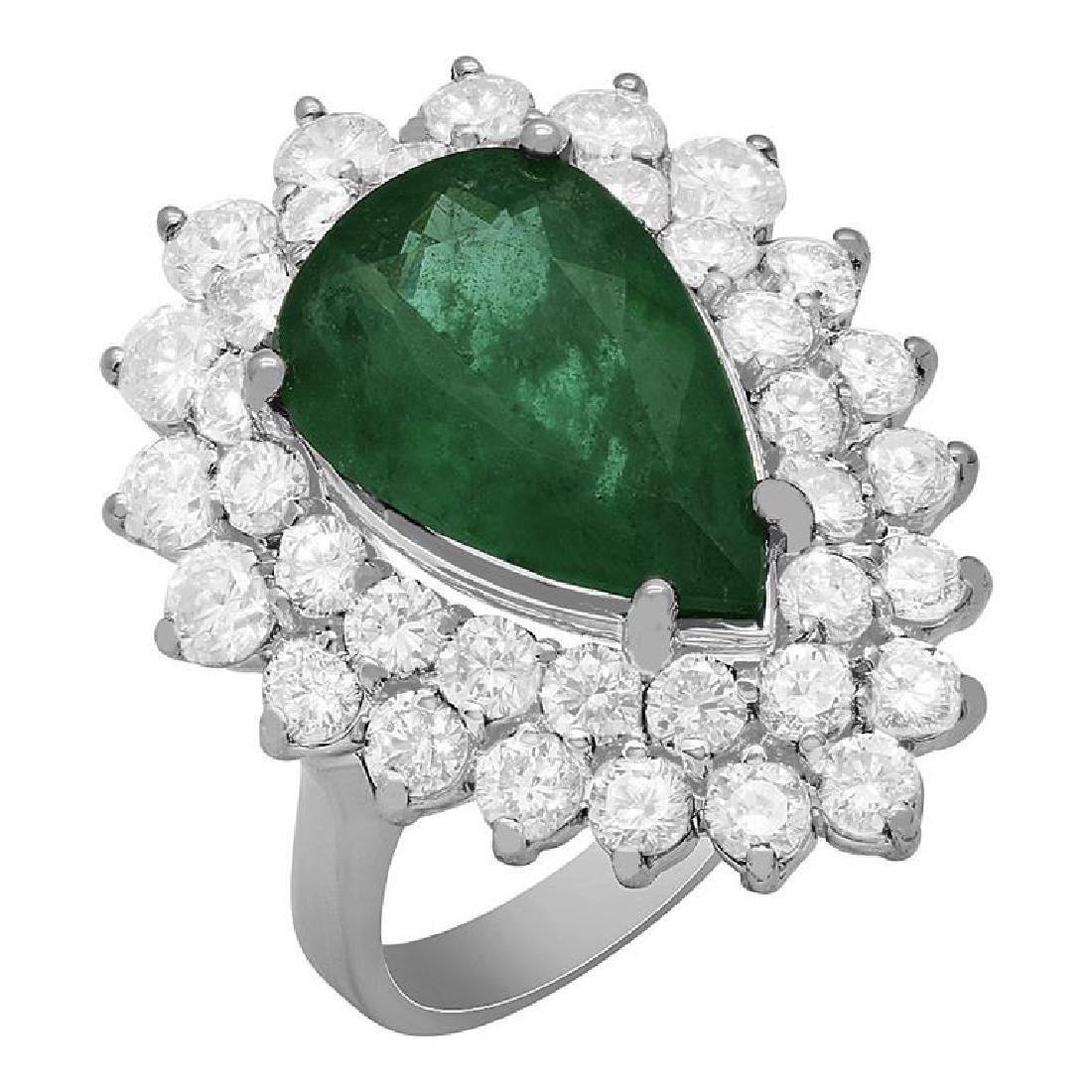 14k White Gold 5.20ct Emerald 2.78ct Diamond Ring
