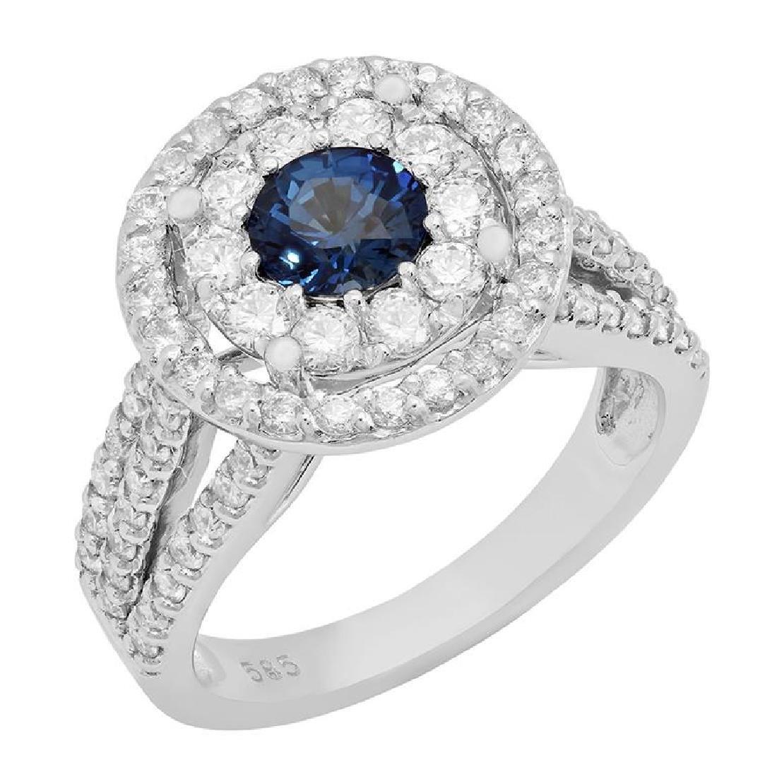 14k White Gold 0.99ct Sapphire 1.52ct Diamond Ring