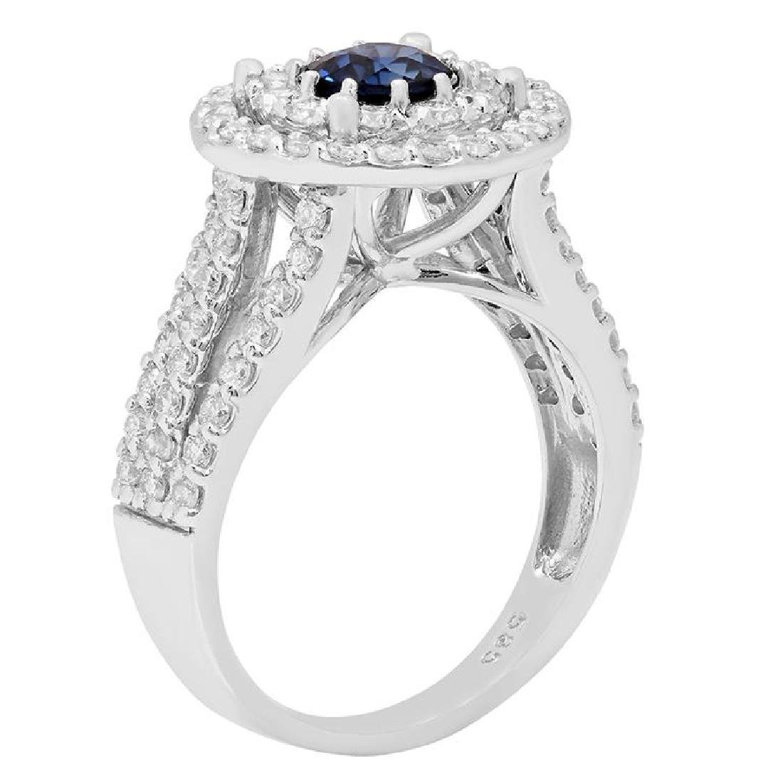 14k White Gold 0.99ct Sapphire 1.52ct Diamond Ring - 2