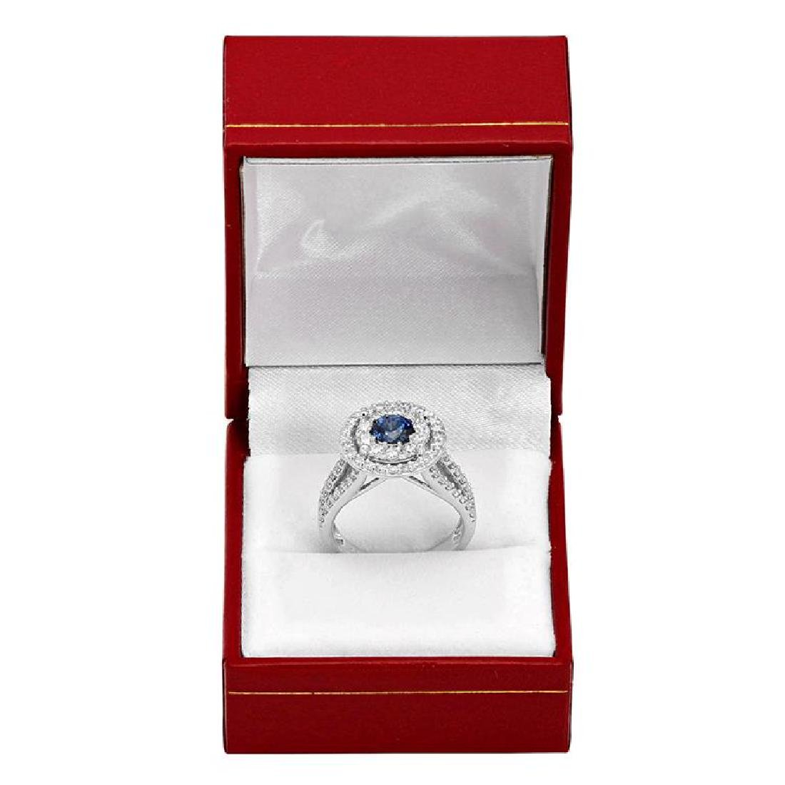 14k White Gold 0.99ct Sapphire 1.52ct Diamond Ring - 3