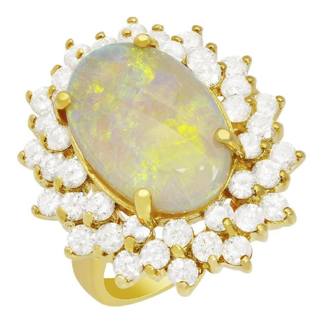 14k Yellow Gold 5.20ct White Opal 2.49ct Diamond Ring