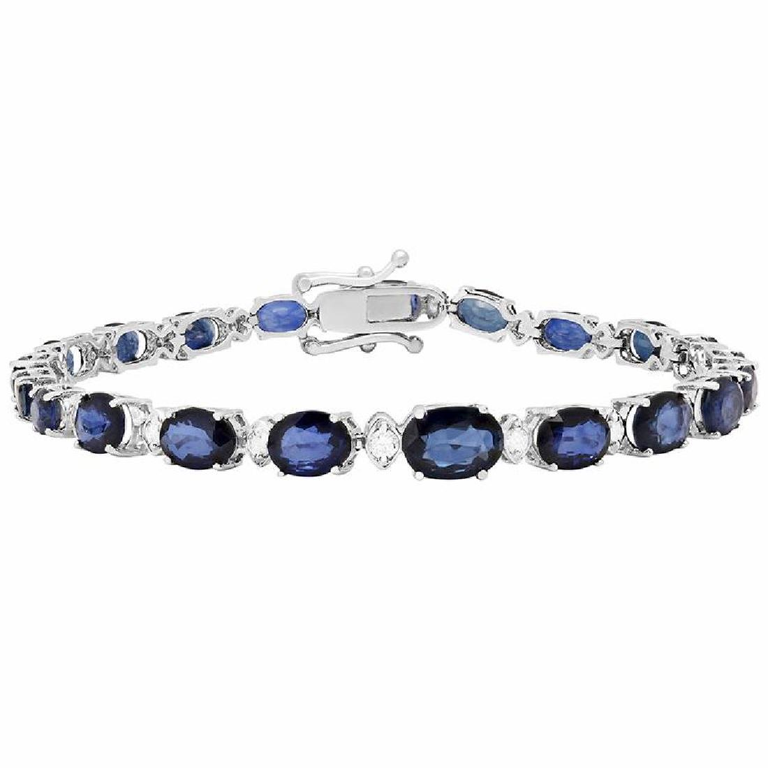 14k White Gold 13.30ct Sapphire 0.60ct Diamond Bracelet