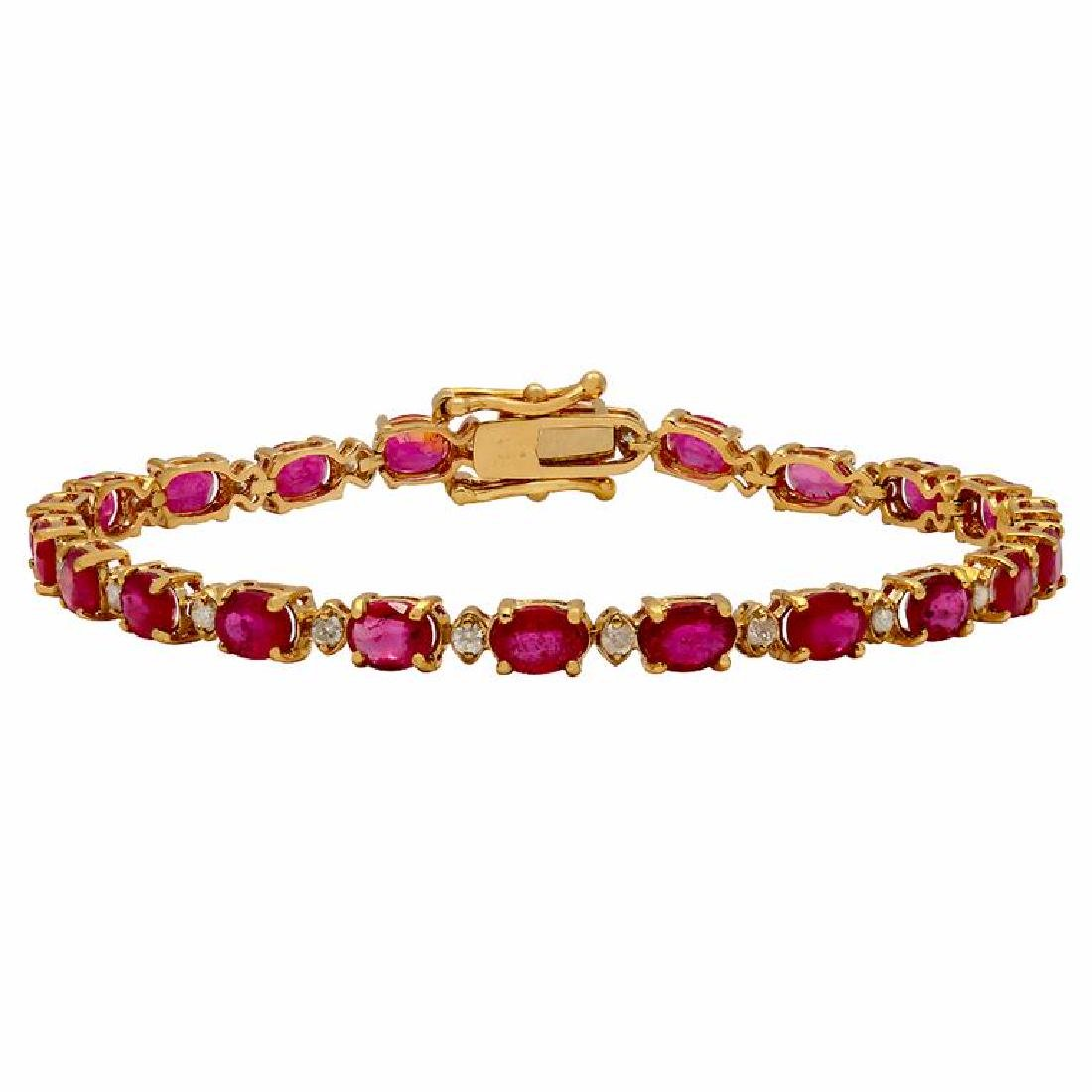14k Yellow Gold 9.91ct Ruby 0.70ct Diamond Bracelet