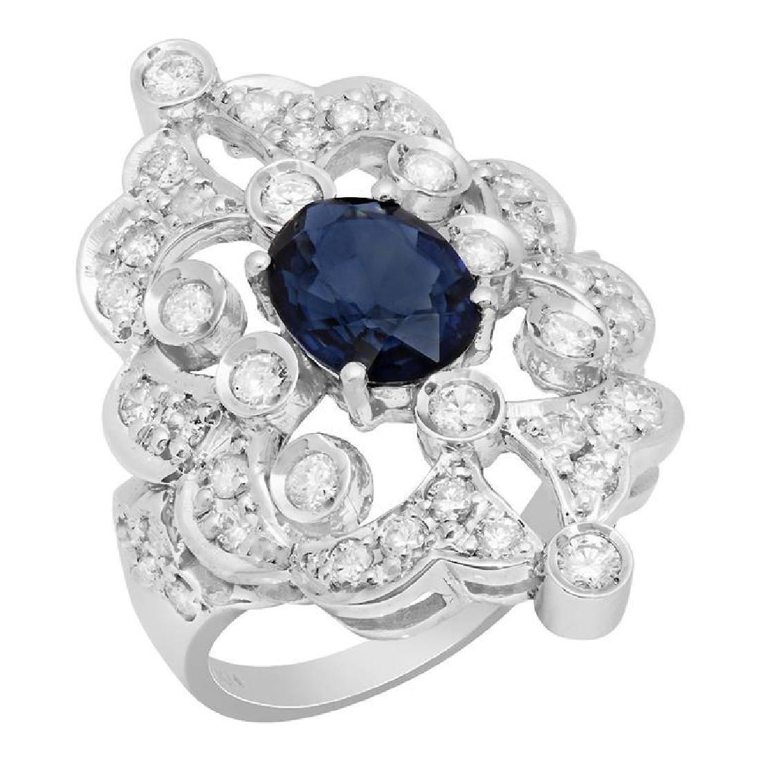 14k White Gold 1.75ct Sapphire 1.27ct Diamond Ring