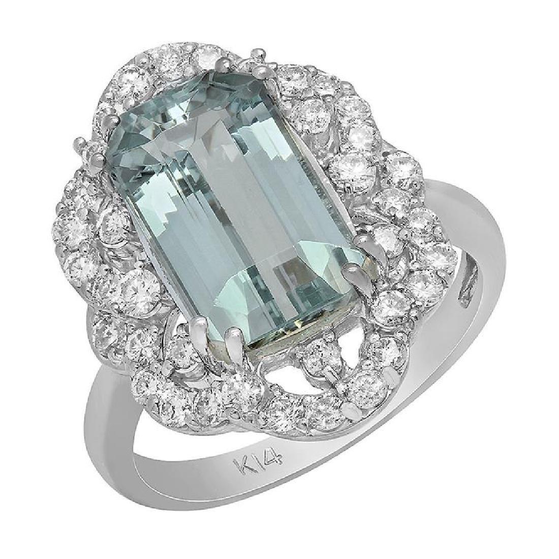 14k White Gold 4.09ct Aquamarine 0.79ct Diamond Ring