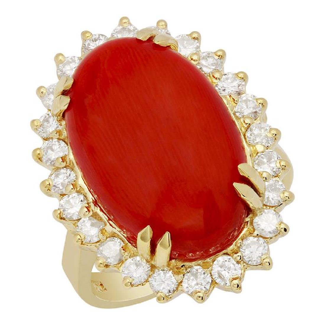 14k Yellow Gold 11.34ct Coral 1.05ct Diamond Ring