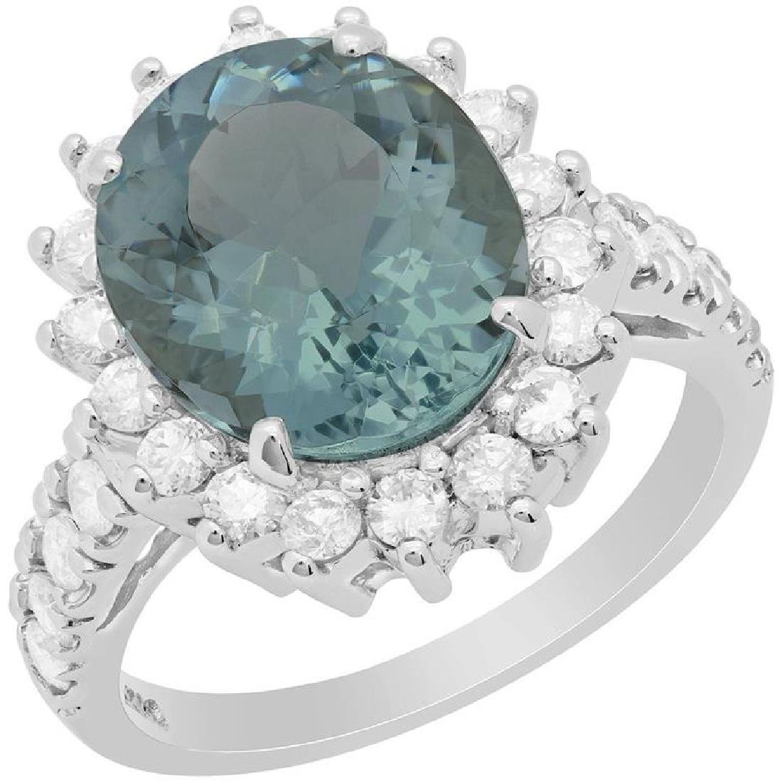 14k White Gold 4.47ct Aquamarine 0.95ct Diamond Ring