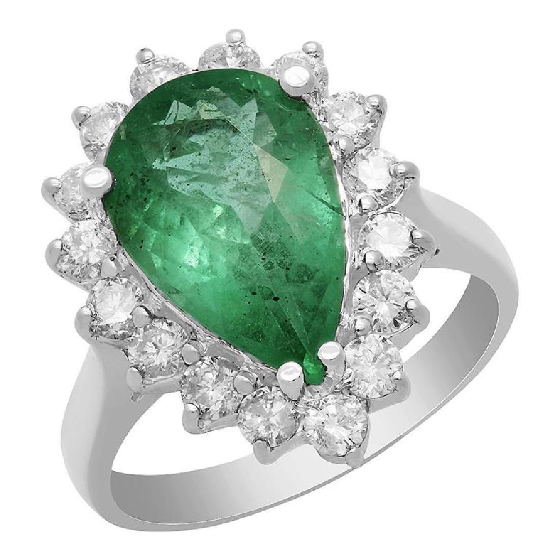 14k White Gold 3.18ct Emerald 0.93ct Diamond Ring
