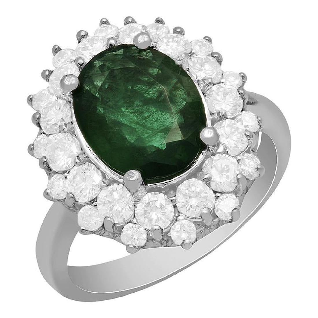 14k White Gold 2.10ct Emerald 1.61ct Diamond Ring