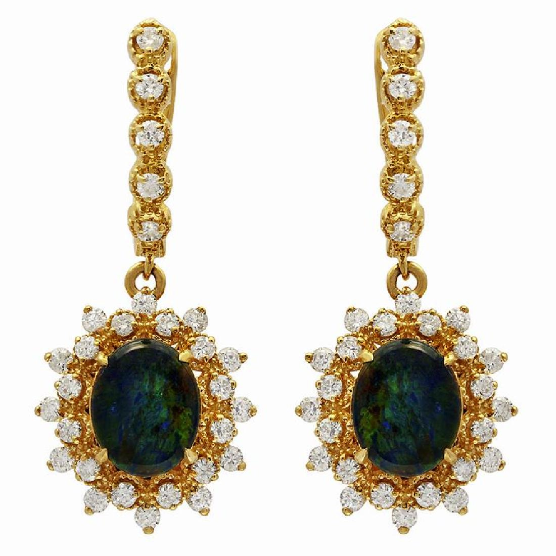 14k Yellow Gold 3.65ct Opal 1.59ct Diamond Earrings