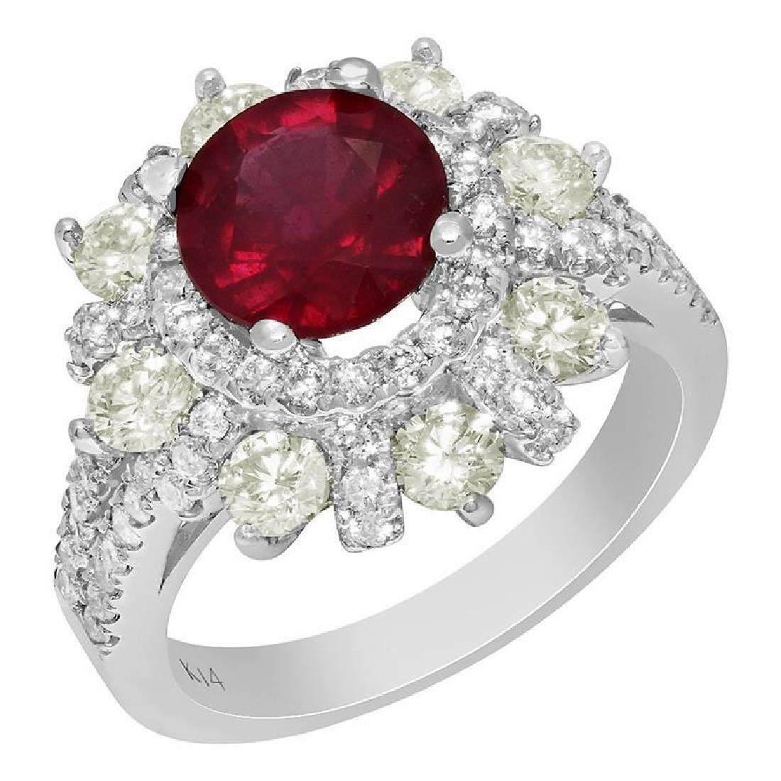 14k White Gold 2.20ct Ruby 1.88ct Diamond Ring