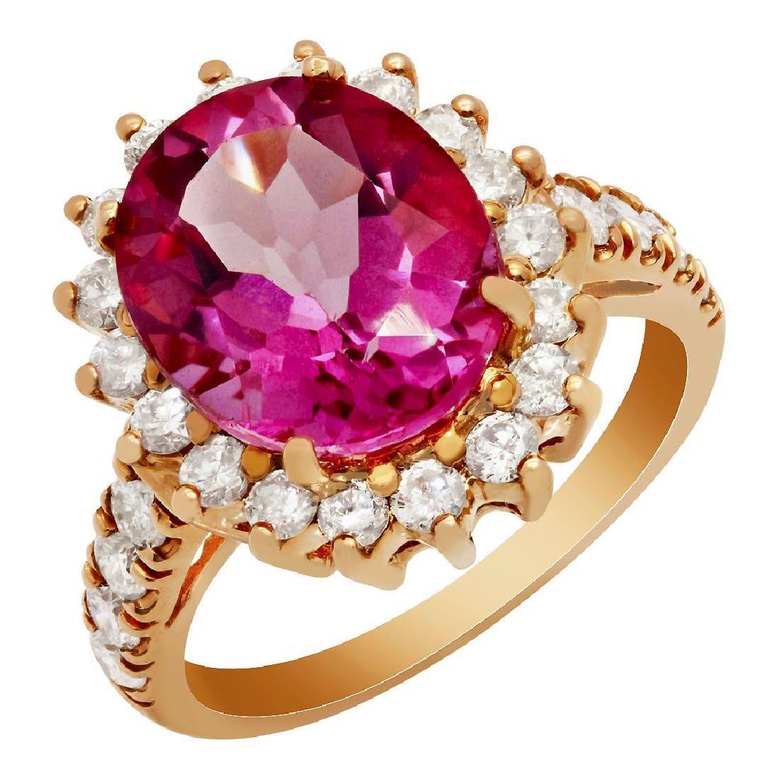 14k Rose Gold 5.96ct Pink Topaz 1.10ct Diamond Ring
