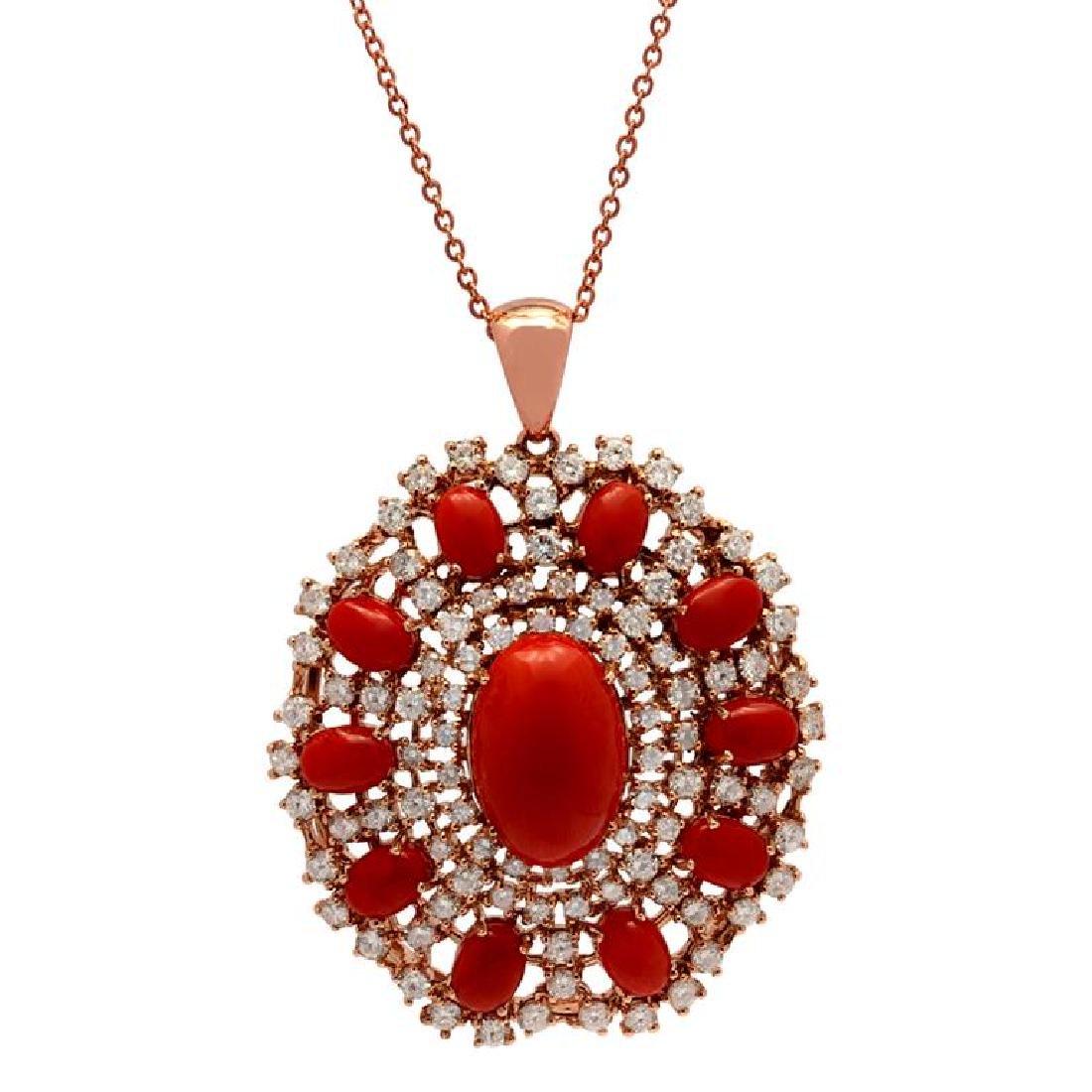 14k Rose Gold 15.96ct Coral 5.51ct Diamond Pendant