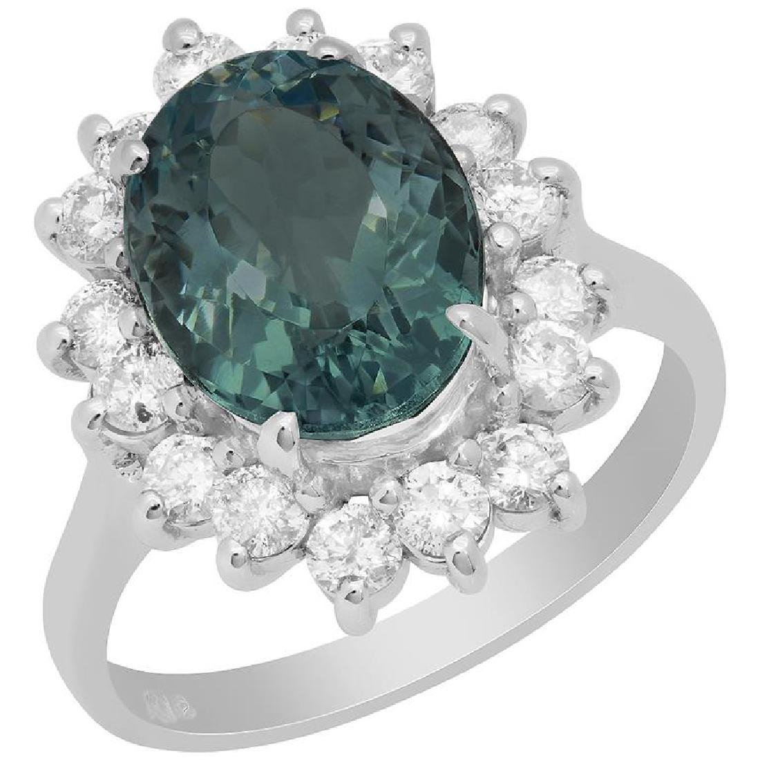 14k White Gold 3.56ct Aquamarine 0.89ct Diamond Ring