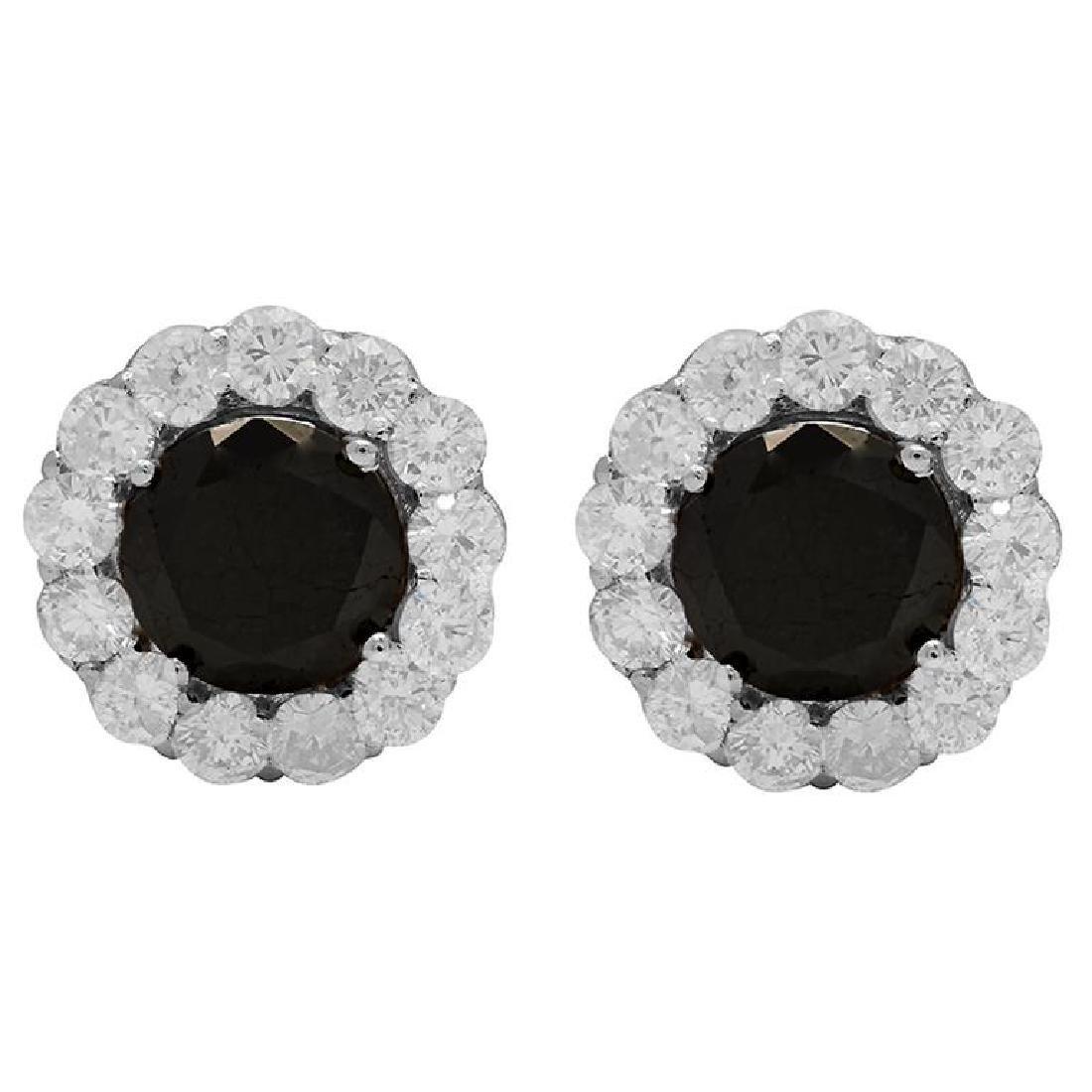 14k White Gold 2.65ct & 1.78ct Diamond Earrings