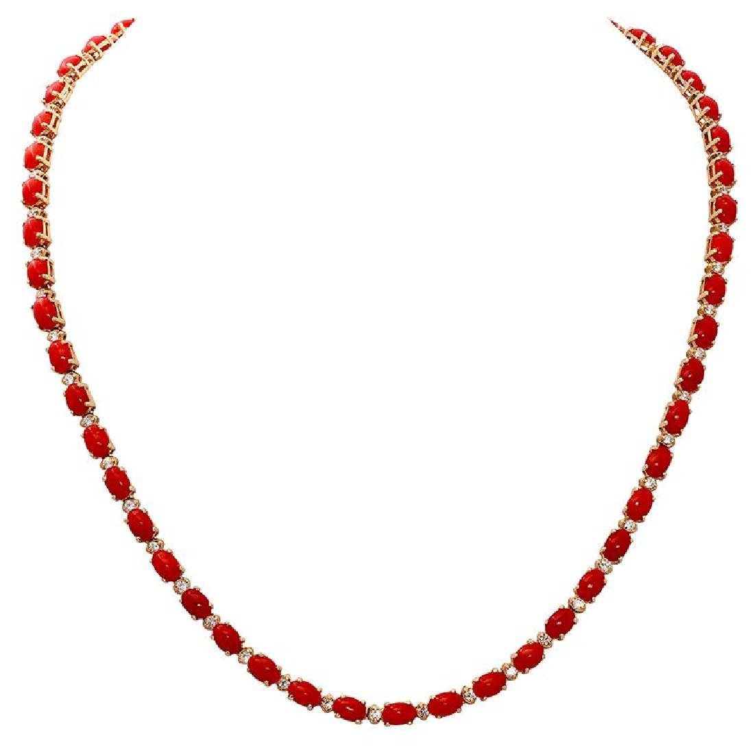 14k Yellow Gold 17.62ct Coral 1.18ct Diamond Necklace