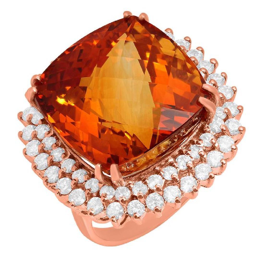 14k Rose Gold 28.90ct Citrine 2.09ct Diamond Ring